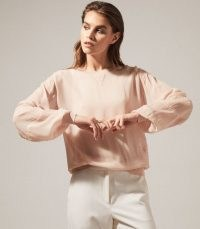 REISS MARLENA SEMI SHEER BLOUSE BLUSH ~ light pink blouses