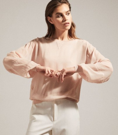 REISS MARLENA SEMI SHEER BLOUSE BLUSH ~ light pink blouses - flipped