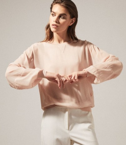 REISS MARLENA SEMI SHEER BLOUSE BLUSH ~ light pink blouses