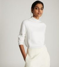 REISS MARLEY TEXTURED HIGH NECK JUMPER CREAM ~ essential knitwear