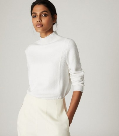 REISS MARLEY TEXTURED HIGH NECK JUMPER CREAM ~ essential knitwear - flipped