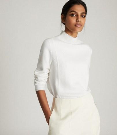 REISS MARLEY TEXTURED HIGH NECK JUMPER CREAM ~ essential knitwear