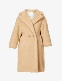 MAX MARA Ted double-breasted wool and silk-blend coat in Albino ~ textured winter coats