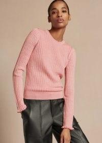 Me+Em Merino Rayon Mouliné Jumper ~ meandem clothing ~ pink rib knit jumpers ~ frill trim cuff sweater