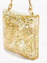 BOTTEGA VENETA Metallic-leaf plexiglass chain-strap clutch | small luxe evening bags