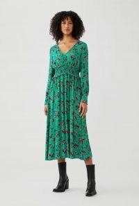 GHOST SUKI DRESS Misty Rose ~ green floral shirred-waist dresses