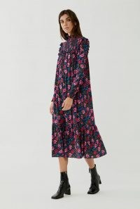 GHOST ANISHA DRESS Roses ~ high neck ruffle trim dresses ~ vintage look fashion