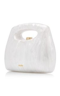Cult Gaia Mimi Marbled Acrylic Top Handle Bag ~ small white handbags