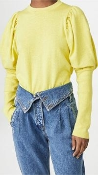 MISA Kali Sweater Chartreuse | bright puff sleeve sweaters