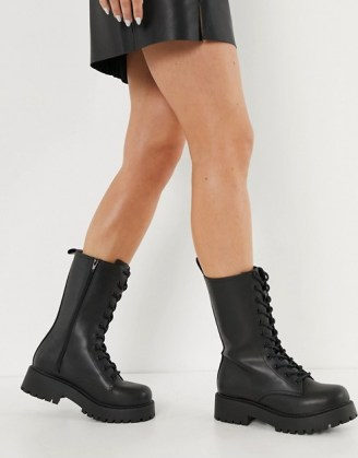 Monki Derek faux leather chunky lace up boot in black ~ calf high combat boots - flipped