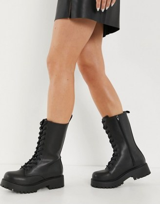 Monki Derek faux leather chunky lace up boot in black ~ calf high combat boots