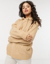 Monki Maryanne recycled co-ord knit hoodie in brown | neutral knitted hoodies