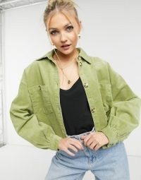 Monki Nanni cotton co-ord cord shacket in green ~ corduroy shackets ~ casual fashion co ords