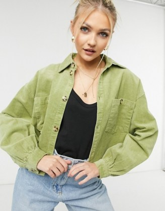 Monki Nanni cotton co-ord cord shacket in green ~ corduroy shackets ~ casual fashion co ords - flipped