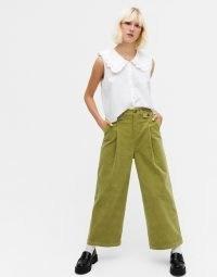 Monki Naomi cotton wide leg cord trousers in green ~ corduroy pants