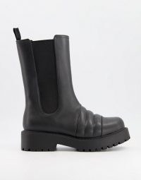 Monki Uno faux leather chunky tall boot in black ~ thick sole chelsea boots