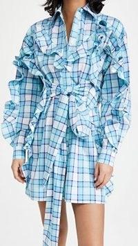 MSGM Ruffled Tie Front Dress / ruffle trim shirt dresses / check print fashion