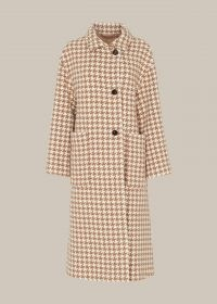 Whistles DOGSTOOTH FUNNEL NECK COAT ~ classic checked coats ~ dogtooth checks ~ houndstooth outerwear