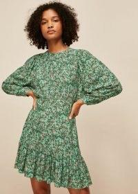 WHISTLES HEATH FLORAL PRINT DRESS ~ green floral ruffle hem dresses