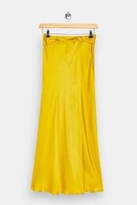 Topshop Boutique Mustard Waterfall Silk Skirt | fluid yellow skirts