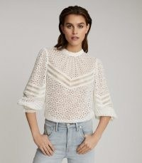 REISS NAINA BRODERIE ANGLAISE TOP WHITE ~ high neck cut out blouse