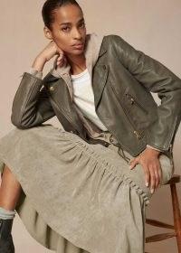 meandem Nappa Leather Crop Biker Jacket in Smoke ~ zip detail outerwear ~ me and em jackets