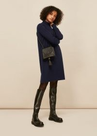 WHISTLES FUNNEL NECK KNITTED DRESS ~ sustainable knitwear ~ navy blue sweater dresses