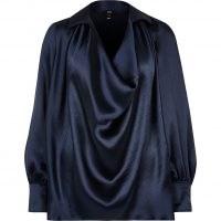 RIVER ISLAND Navy satin cowl neck long sleeve top ~ dark blue draped neckline tops