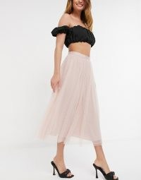 Needle & Thread midi tulle skirt in blush ~ light pink sheer overlay skirts