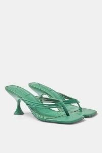 Topshop NEEVA Green Strappy Mules ~ toe post kitten heels