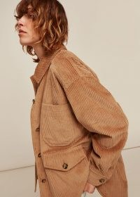 WHISTLES CORDUROY BUTTON UP JACKET / cord shirt jackets / neutral shackets