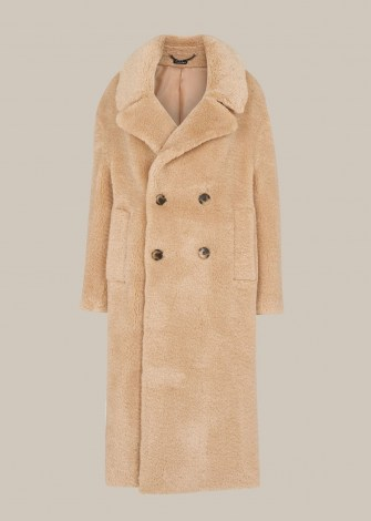 WHISTLES TEDDY DOUBLE BREASTED COAT / neutal textured winter coats / luxe outerwear - flipped