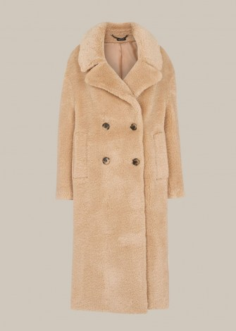 WHISTLES TEDDY DOUBLE BREASTED COAT / neutal textured winter coats / luxe outerwear