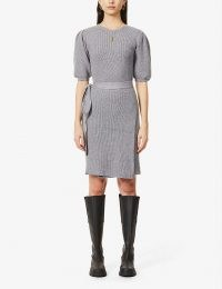 NEVER FULLY DRESSED Boat-neck wrap-over knitted mini dress – knitted dresses