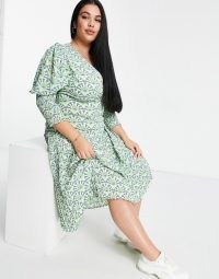 Never Fully Dressed Plus puff sleeve pleated midaxi dress in green geo print | plus size dresses | volume sleeves