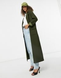 Never Fully Dressed tailored maxi jacket in khaki ~ longline green coats