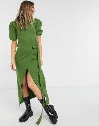 Never Fully Dressed tie waist asymmetric wrap midi dress in olive green
