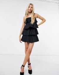 Never Fully Dressed tiered mini dress in black ~ strapless lbd ~ party fashion ~ going out dresses