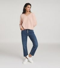 REISS NINA WOOL CASHMERE BLEND V-NECK JUMPER BLUSH ~ casual luxe knitwear ~ pink relaxed jumpers