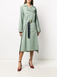 Nina Ricci double-breasted belted coat | green contemporary trench coats