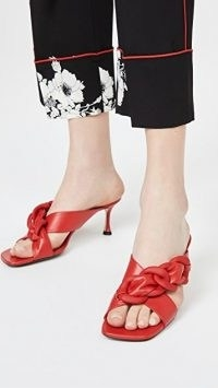 No. 21 Red Chunky Interwoven Chain Mule Sandals