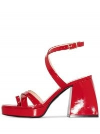 Nodaleto chunky block 85mm heel sandals | red patent leather retro shoes | 70s vintage style sandal