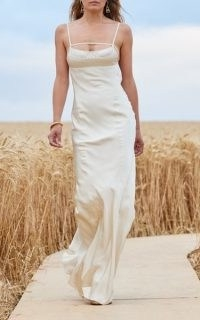 Jacquemus Novio Tie-Detailed Satin Gown ~ skinny strap fluid fabric gowns ~ long occasion dresses