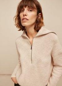 WHISTLES KNITTED ZIP NECK SWEATER ~ oatmeal pullover