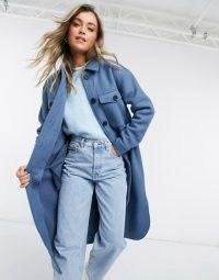 Object longline wool shacket in blue ~ shackets