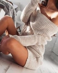 Off Shoulder Knit Long Sleeve Sweater Dress HC0447-iv-be – ivrose
