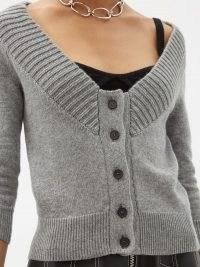 ALEXANDER MCQUEEN Off-the-shoulder cashmere cardigan ~ grey bardot cardigans