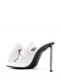 Off-White Allen bow mules / padded mule / silver-tone hexagonal stiletto heels