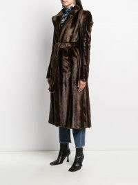 Off-White faux-fur mid-length coat / luxe brown tie waist coats