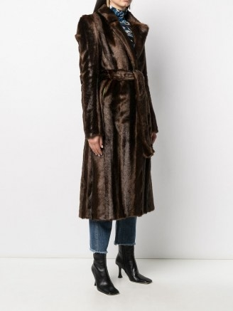 Off-White faux-fur mid-length coat / luxe brown tie waist coats - flipped